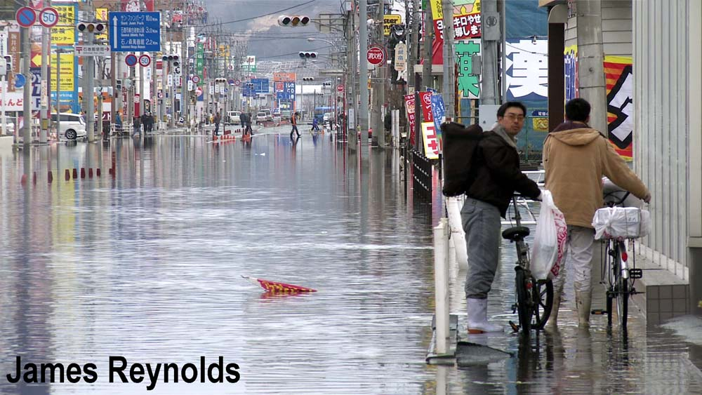 Tidal flooding in Ishinomaki 4 days after the tsunami