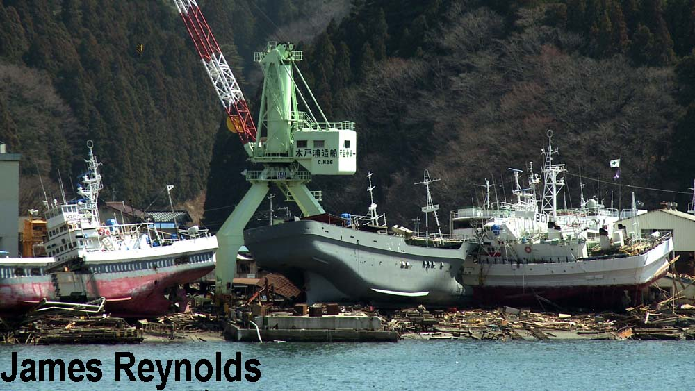 Ships washed ashore in Kesennuma city by the tsunami