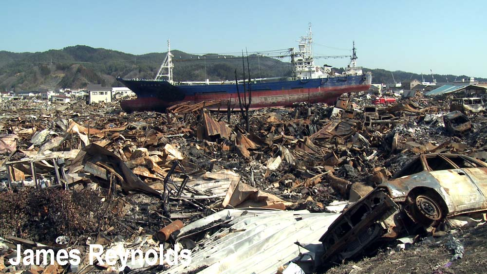 Burnt out wasteland in Kesennuma city after the tsunami